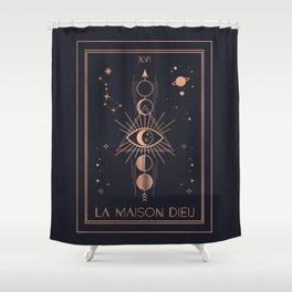La Maison Dieu or The Tower Tarot Shower Curtain