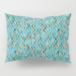 Summery Turquoise Glass Tiles Pattern Pillow Sham