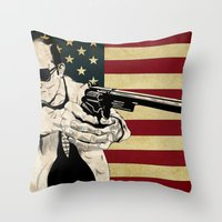 hunter s thompson Throw Pillows featuring Hunter S. Thompson by Ignacio Pulido
