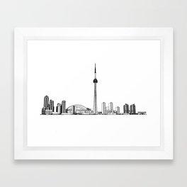 Toronto Skyline - Black on White Framed Art Print