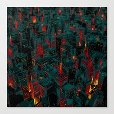 Night city glow cartoon Canvas Print