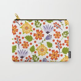 Sunshine yellow lavender orange abstract floral illustration Carry-All Pouch