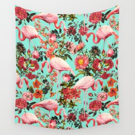 Floral and Flemingo IV Pattern Wall Tapestry