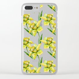 Spring hand painted yellow green watercolor daffodils floral Clear iPhone Case