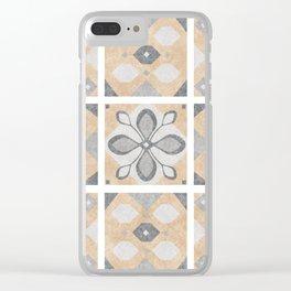 Terracotta Vintage Tiles Design Clear iPhone Case