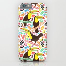 Toucandy - rainbow sweets and licorice surround tropical toucans on candy canes iPhone Case