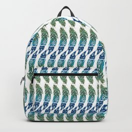 green and blue tribal feather Backpack