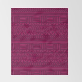 Mud Cloth in Raspberry Throw Blanket
