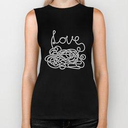 Spaghetti Love in Black and White Biker Tank