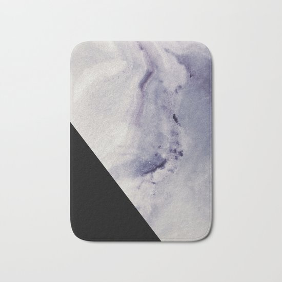 Blue Marble with Black Geometry Bath Mat
