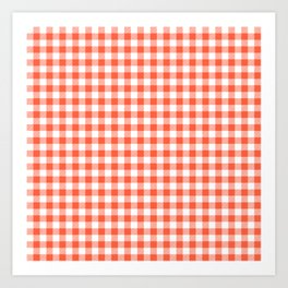 Living Coral Color of the Year Orange and White Buffalo Check Plaid Art Print