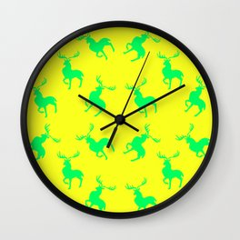 green moose silhouettes against bright yellow background pattern graphic design Wall Clock
