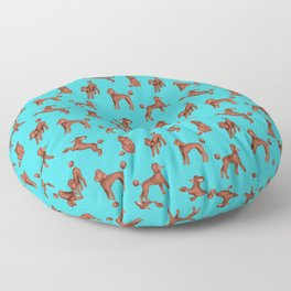 Chocolate Poodles Pattern  (Turquoise Background) Floor Pillow