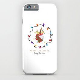 Magical unicorn horse with colorful light bulb frame iPhone Case