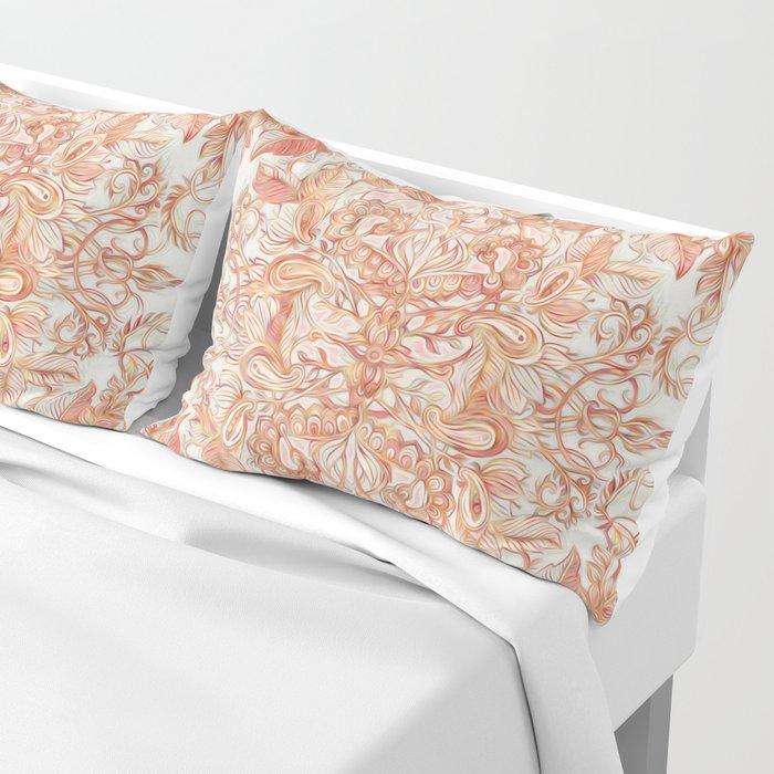 Autumn Peach Art Nouveau Pattern Pillow Sham