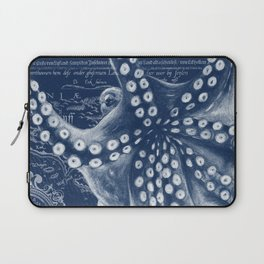 Octopus Vintage Map Blue Nautical Art Laptop Sleeve