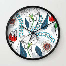 White Egret Orchid Wall Clock
