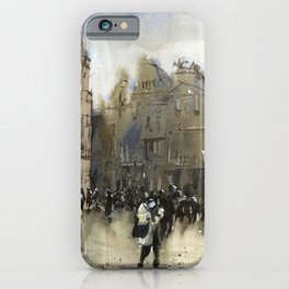 Grand Place of Brussels in downtown Brussels illuminated at night. Brussels artwork watercolor iPhone Case