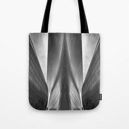 Architectural abstract captured in black and white from low perspective rendering a dramatic view. Tote Bag