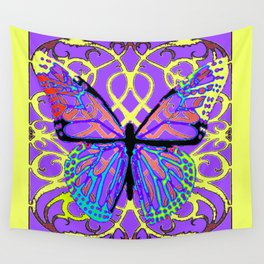 ABSTRACT PURPLE-YELLOW BUTTERFLY ART Wall Tapestry