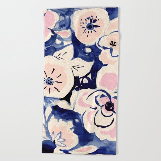 Midnight Moonflower Beach Towel