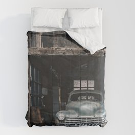 Old vintage car truck abandoned in the desert Comforters