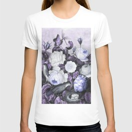 Periwinkle Roses Gray Birds Temple of Flora T-shirt