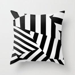 RADAR/ASDIC Black and White Graphic Dazzle Camouflage Throw Pillow