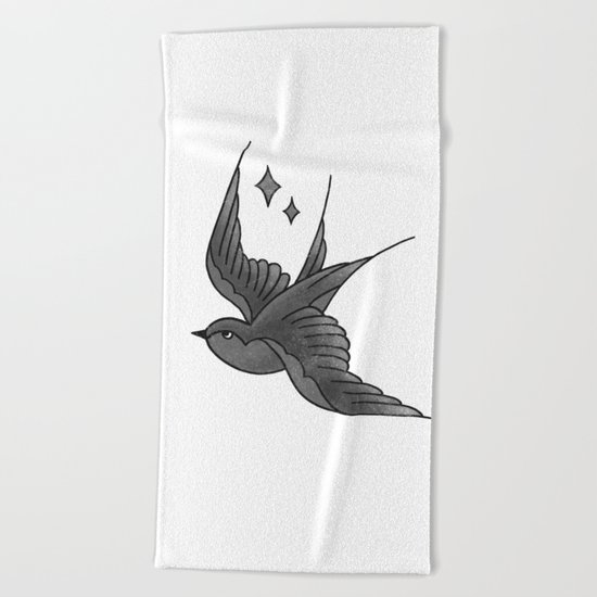 Swallow Flash - mono Beach Towel