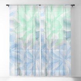 Big Flowers With Blue and Green Sheer Curtain