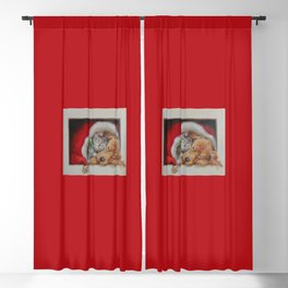 Cute pets Dog and Cat sleeping in the Santa's hat Christmas illustration Blackout Curtain