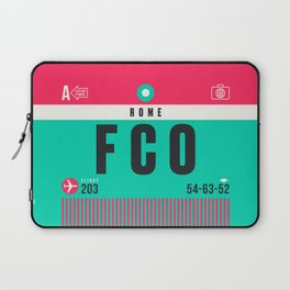 Luggage Tag A - FCO Rome Fiumicino Italy Laptop Sleeve