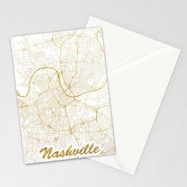 Nashville Map Gold Stationery Cards