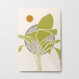 Peace Lily Plant And Sun Metal Print