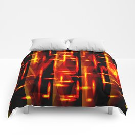 Luxurious red stripes and metallic orange triangles of fire create abstraction and glow. Comforters