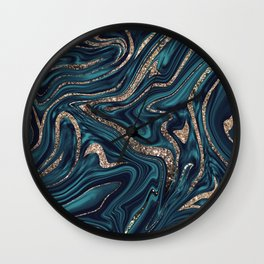 Teal Navy Blue Gold Glitter Marble #1 (Faux Glitter) #decor #art #society6 Wall Clock