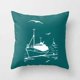 Comrades in Turquoise Throw Pillow