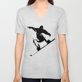 Snowboarding Black on White Abstract Snow Boarder Unisex V-Neck