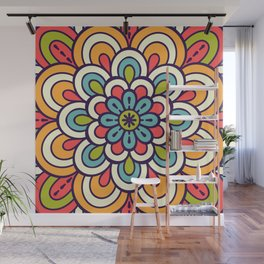 Mandala, Colorful Abstract Flower Wall Mural