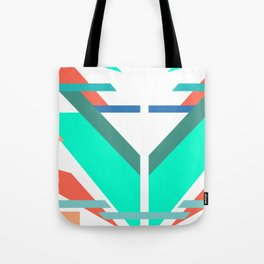 Neon Grapefruit and Electric Mint Shapes Doubled Tote Bag