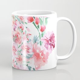 Bouquet of RED rose - wreath - Painted Coffee Mug
