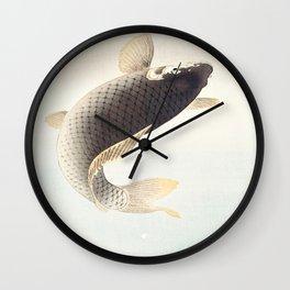 A leaping Carp - Japanese vintage woodblock print art Wall Clock