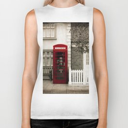 Red Telephone Booth Sepia Spot Color Photography Biker Tank