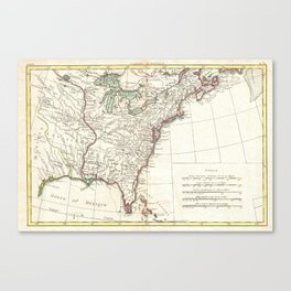 Thirteen Colonies Vintage Map (1776) Canvas Print