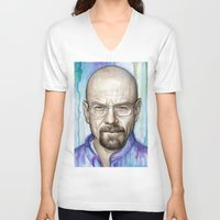 walter white V-neck T-shirts featuring Walter White Portrait by Olechka