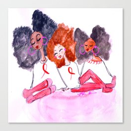 Unbothered Breast Cancer Awareness Canvas Print