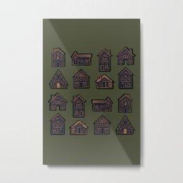 Tiny Houses - Green Beige Blue Metal Print