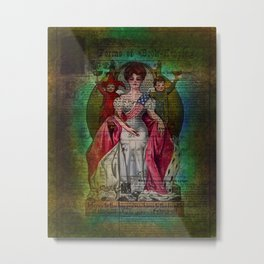 Mixed Media Ephemera Altered Art Woman Flag Metal Print