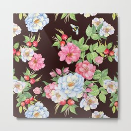 Vintage Floral Pattern: Pink and Pastel Blue Flowers Metal Print