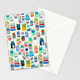 Lots of Watercolor Kitty Cats Stationery Cards